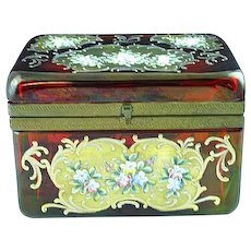 Rare Bohemian Cranberry Glass Enamel Painted Sugar Casket