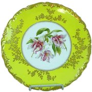 T&V Limoges Depose Signed Hand Painted Stanhopea Orchid Cabinet Plate