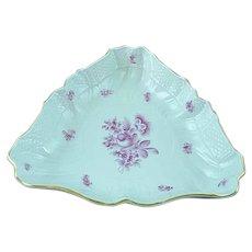 "Vintage Herend Rasberry Rose Porcelain Triangular 10"" Vegetable Bowl - MINT"