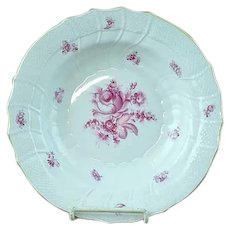 "Vintage Herend Raspberry Rose Porcelain 9 1/2"" Flat Soup Plate - MINT #2"