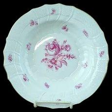 "Vintage Herend Raspberry Rose Porcelain 9 1/2"" Flat Soup Plate - MINT #2"