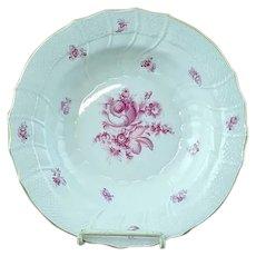 "Vintage Herend Raspberry Rose Porcelain 9 1/2"" Flat Soup Plate - MINT #3"