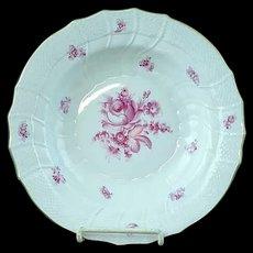 "Vintage Herend Raspberry Rose Porcelain 9 1/2"" Flat Soup Plate - MINT #4"