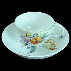 Antique 18thC Den Haag Porcelain Cup & Saucer Porzellan Tasse The Hague Dutch #1