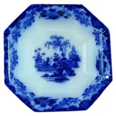 Large Antique Scinde Flow Blue Compote By Alcock Ca 1840