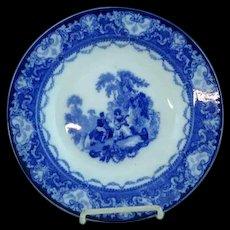 "Doulton Watteau Flow Blue 9 1/4"" Flat Soup Plate #1"