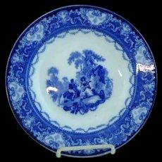 "Doulton Watteau Flow Blue 9 1/4"" Flat Soup Plate #2"