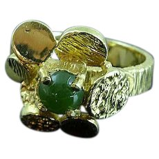 Heavy 14k Yellow Gold Flower With Jade Center Ring Size 6 1/2 Estate Find