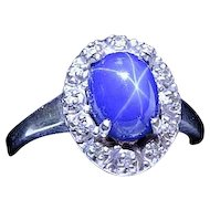 14k White Gold Star Sapphire and Diamond Ring Size 9 Estate Find