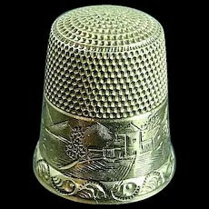 Antique Simons Bros. 10k Gold Thimble Ornate Engraved Size 10