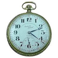 Illinois Santa Fe 21j Pocket Watch Open Face Double Sunk 60 Min Dial 1926