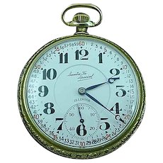 Illinois Santa Fe 21j Pocket Watch Open Face Double Sunk 60 Min Dial 1926