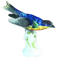 Fine Antique German Dresden Porcelain Colorful Bird On Perch
