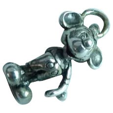 Full Body Sterling Silver Smiling Mickey Mouse Charm Pendant