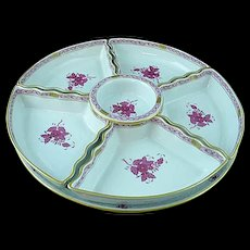 HEREND Hungary Chinese Bouquet Raspberry 7 Pc Hors d oeuvres & Serving Platter Set