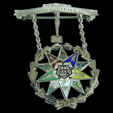 Antique 1928 10K Gold Enamel OES Eastern Star Worthy Matron Masonic Pin Katahdin
