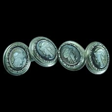 Antique .800 Silver and Carved Mother Of Pearl Cameo Cuff Links