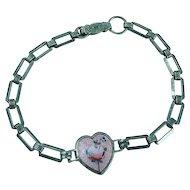 Sterling Silver Pink Rose Enameled Center Link Bracelet