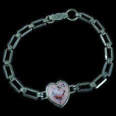 Sterling Silver Pink Rose Enameled Center Link Bracelet