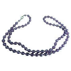 30 Inch Vintage Cut Faceted Bead Amethyst Necklace