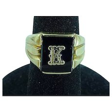 Vintage 10K Solid Gold Men's Ring With Onyx Stone & Gold Letter K