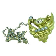 Vintage 14k Yellow Gold Delta Zeta Fraternity Pin With Pearls & Diamond 1947 With Name of Owner