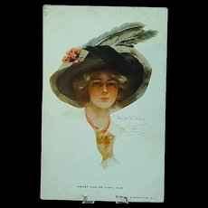 1911 Philip Boileau Postcard Beautiful Girl in Big Feather Hat - Sweet Life of Coral Hue