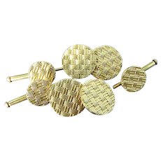 Vintage Solid 14K Gold 5 Piece Cuff Links Suite Basket Weave Finish