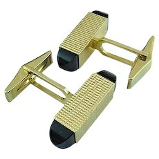 Fabulous Vintage 14k Gold & Black Onyx Cuff Links Hall Marked