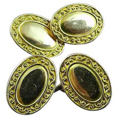 Victorian Solid 14K Gold Oval Cufflinks