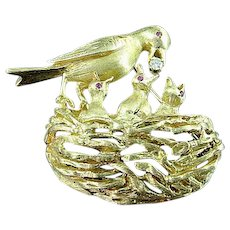 Heavy Solid 14k Gold & Diamond Bird and Nest Brooch Pin All Have Ruby Eyes