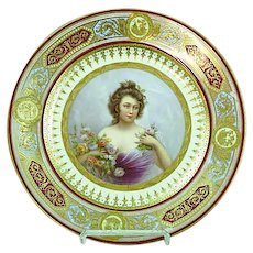 Antique Royal Vienna Gold Gilded Portrait Plate Coquetterie Artist Signed