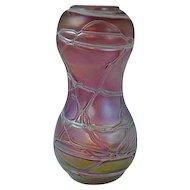 Loetz or Kralik Art Glass Red Cylinder Vase Threaded Iridescent Decoration