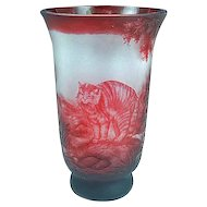 Large Antique 1930's French Red Cameo Art Glass Vase With Cat Signed #2
