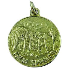 "1"" Round 14K Yellow Gold Palm Springs Pendant Medal Charm ~ 4.7 Grams"