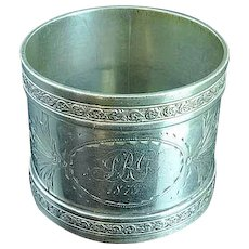 Heavy Engraved Coin Silver Napkin Ring Dated 1873
