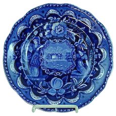 Dark Blue Staffordshire America And Independence Chain Of States Plate