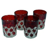 1890's EAPG Pattern Glass Ruby Stain Red Block Water Tumblers Set of 4