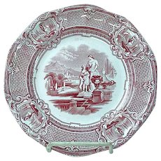 Antique Staffordshire Red Transfer Plate Carrara By J. Holland Ca 1852 #1
