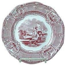 Antique Staffordshire Red Transfer Plate Carrara By J. Holland Ca 1852 #1
