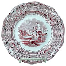 Antique Staffordshire Red Transfer Plate Carrara pattern By J. Holland Ca 1852 #2