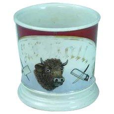 Antique Occupational Shaving Mug Butcher Theme T&V Limoges France ca 1890