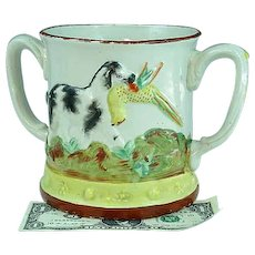 Antique Staffordshire Twin Handle Frog Mug With Dog 19th C