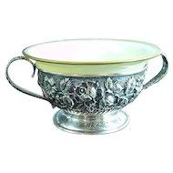 Rare 12 Schofield Sterling Silver Baltimore Rose Cream Soup Cups W Lenox Inserts