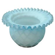 """Antique Aqua Blue """"Mother-of-Pearl"""" Diamond Quilted Satin Glass Ruffled Bowl"""