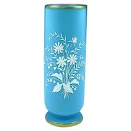 Antique French Blue Opaline Glass Enamel Painted Vase With White Flowers