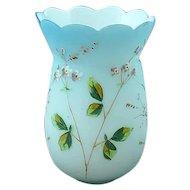 Mt Washington Floral Enamel Decorated Blue Satin Glass Vase Ca 1880