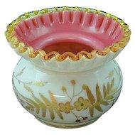 Small Victorian English Webb Glass Gold Gilded Flower & Fern Brides Bowl