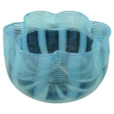 Rare Opalescent Boston & Sandwich Glass Threaded Glass Bowl