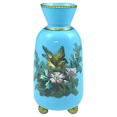 Antique French Blue Opaline Glass Enamel Painted Vase Bird & Wild Roses